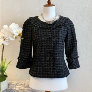 Ann Taylor Sz 0 Black Twead Fringe Jacket